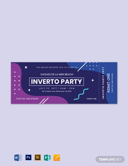 inverto party event ticket