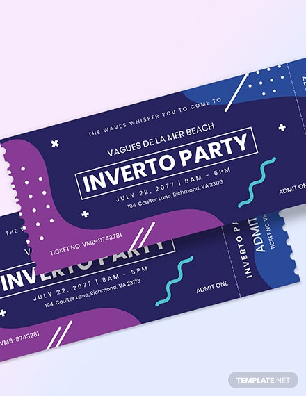 Sample Inverto Party Event Ticket