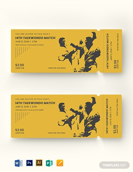 Martial Arts Ticket Template