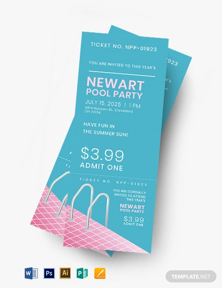 Pool Event Ticket Template