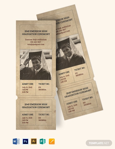 Vintage Graduation Ticket Template