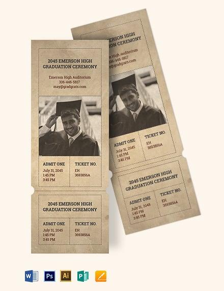 Vintage Graduation Ticket Template