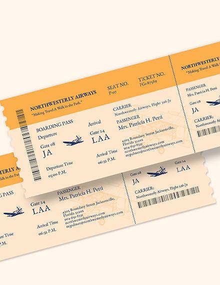 Sample Vintage Airline Ticket