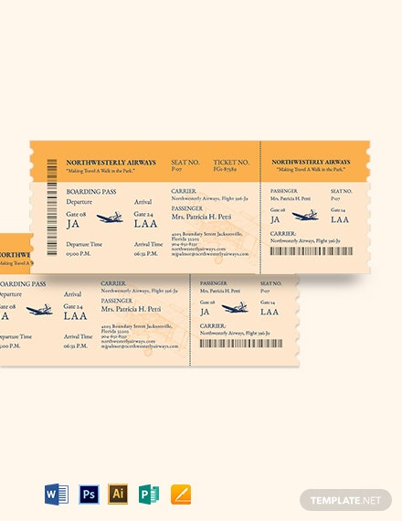 Vintage Airline Ticket Template