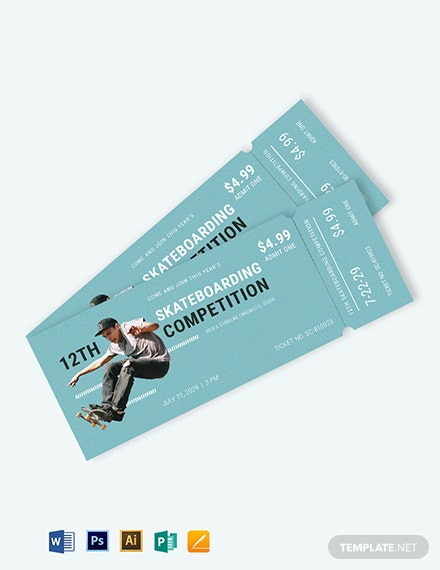 Skateboarding Ticket Template