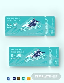 Snowboarding Ticket Template