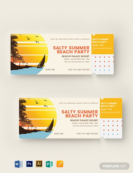 download summer party event ticket template