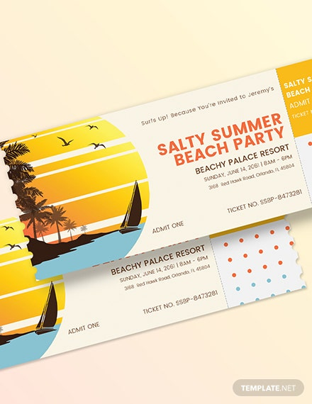 Sample Summer Party Event Ticket