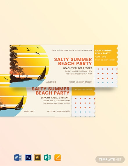 Summer Party Event Ticket Template