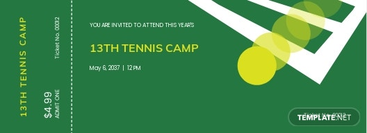 Tennis Camp Ticket Template
