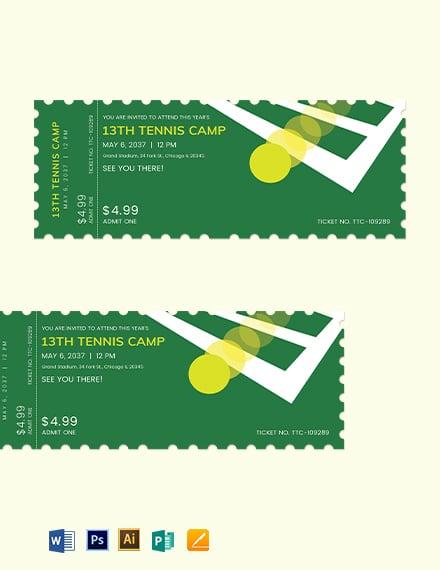 Tennis Camp Ticket Template