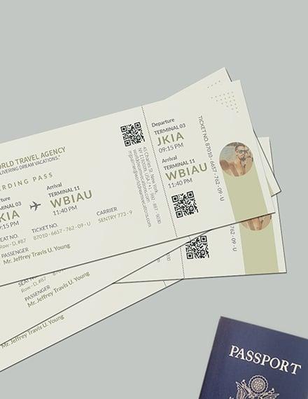 Sample Vacation Travel Ticket
