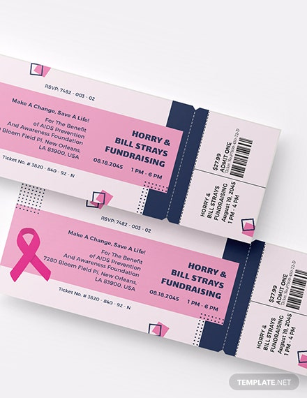 Sample AIDS Fundraising Event Ticket