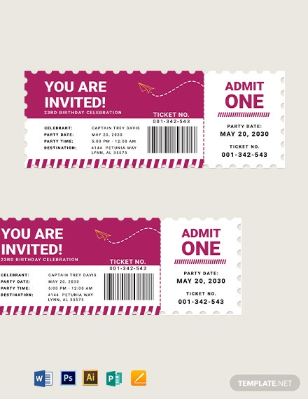 Airline Birthday Ticket Template