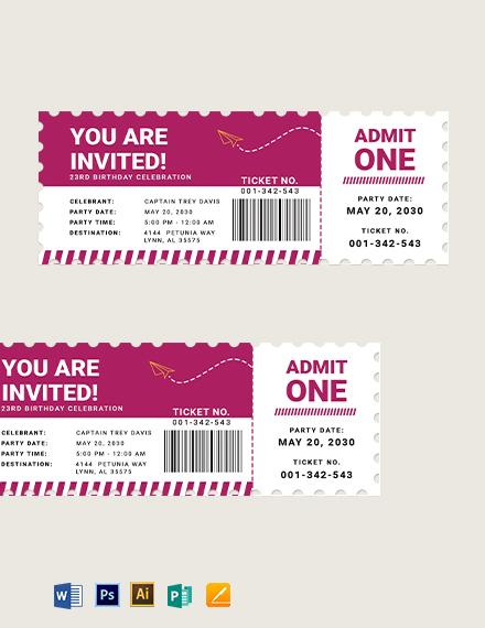 Airline Birthday Ticket Template