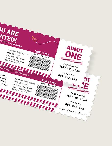 Sample Airline Birthday Ticket