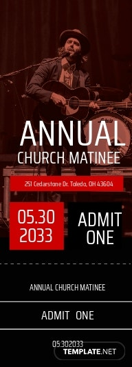 Annual Church Ticket Template [Free JPG] - Illustrator, Word, Apple Pages, PSD, Publisher