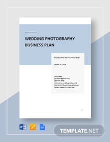 Wedding Photography Business Plan Template
