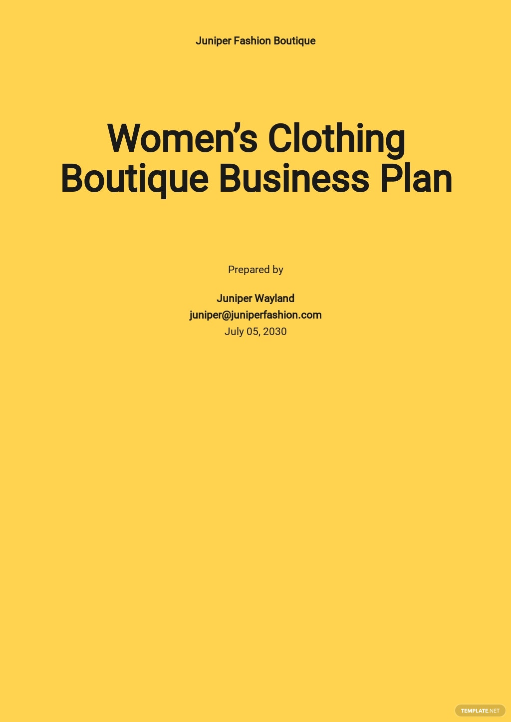 Women's Clothing Boutique Business Plan Template