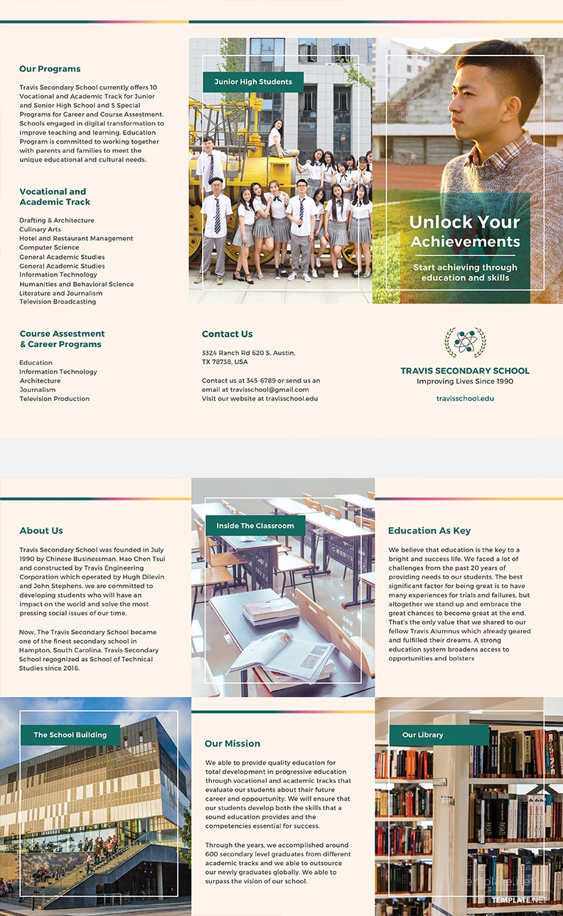 Free Junior High School Brochure Template In PSD MS Word - High school brochure template