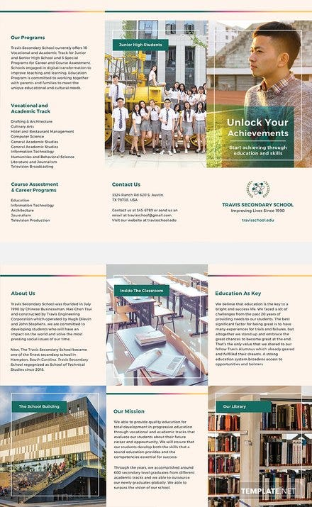 Free Junior High School Brochure Template Free Templates