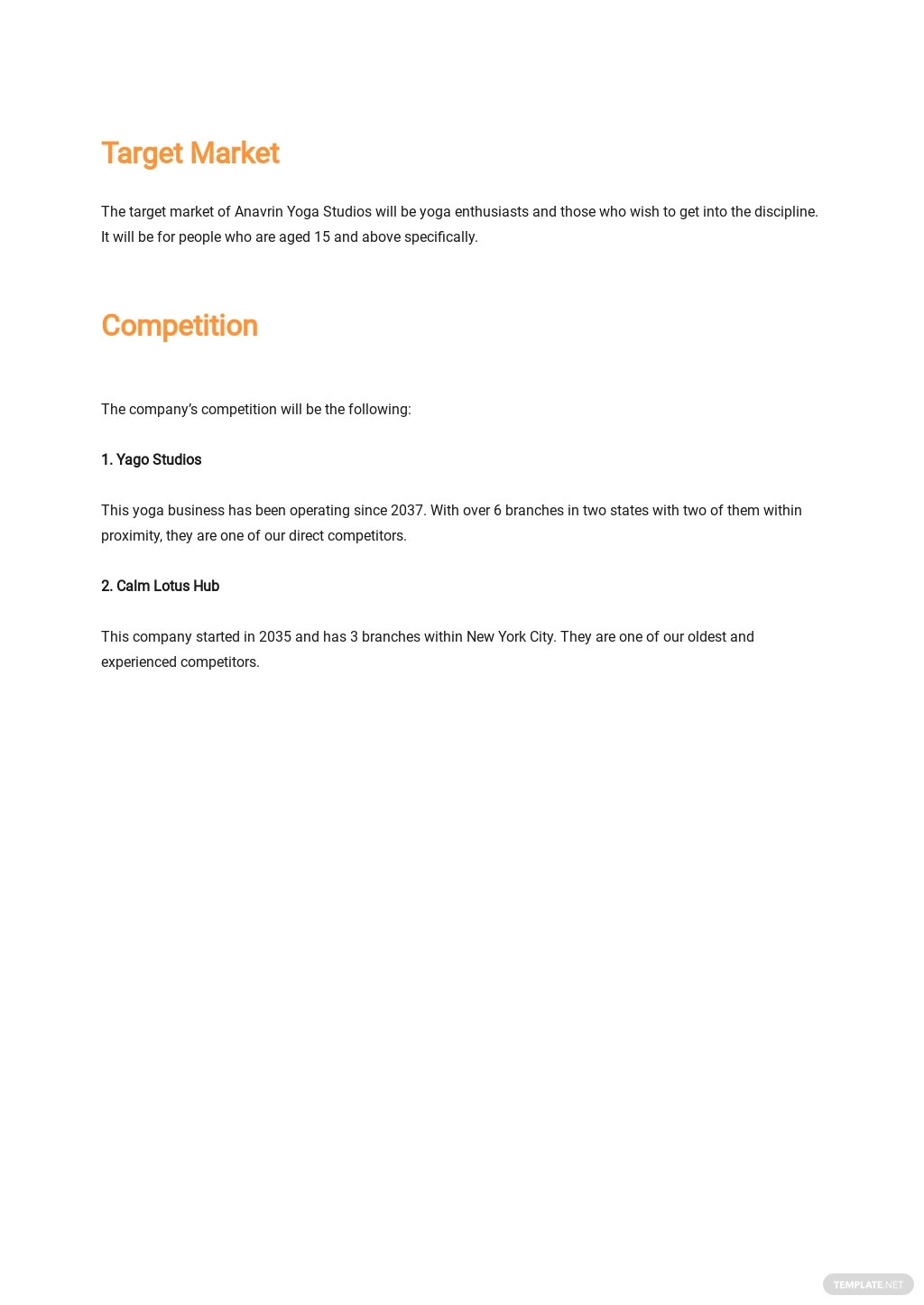 Yoga Studio Business Plan Template 2.jpe