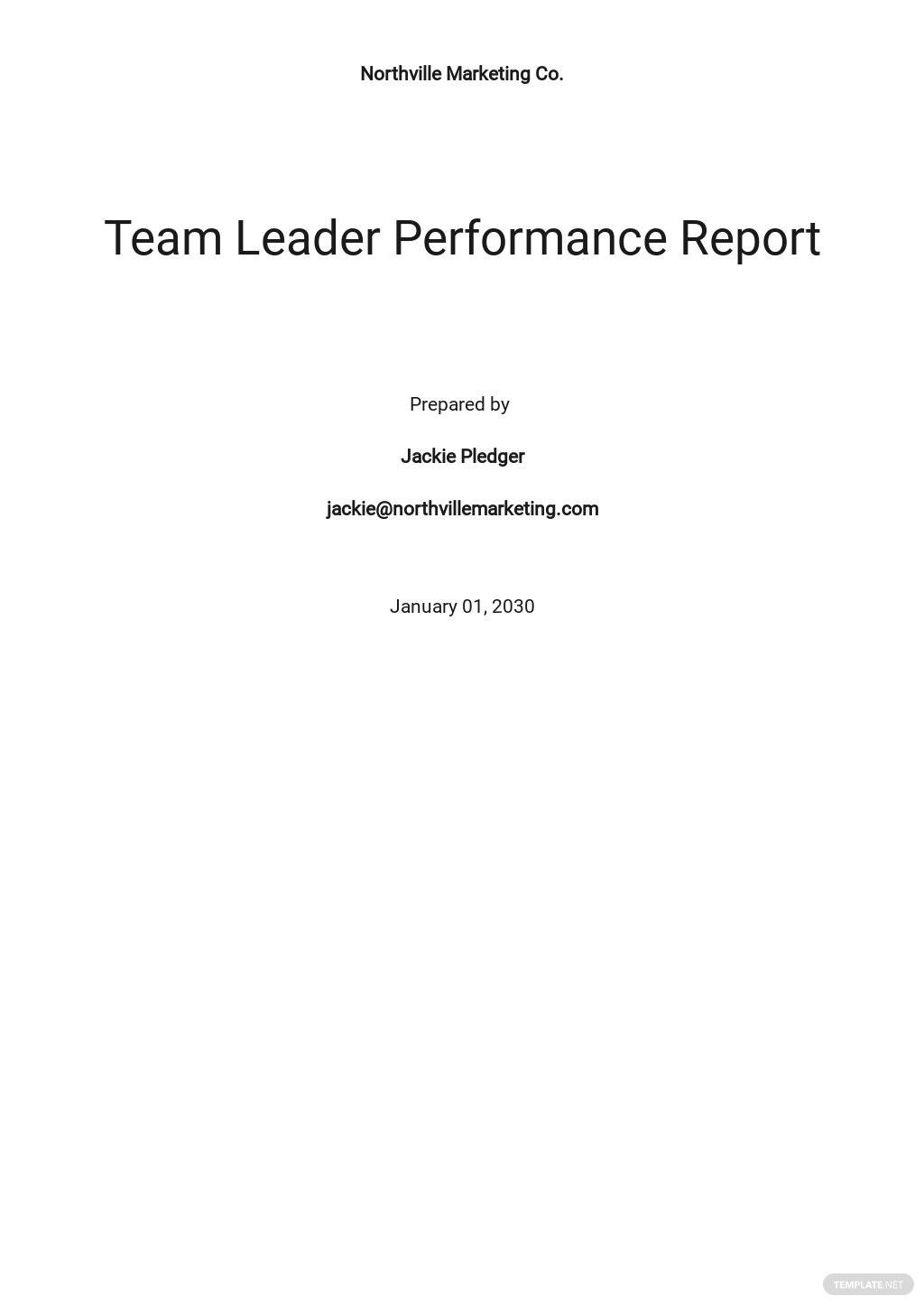 Performance Report Template