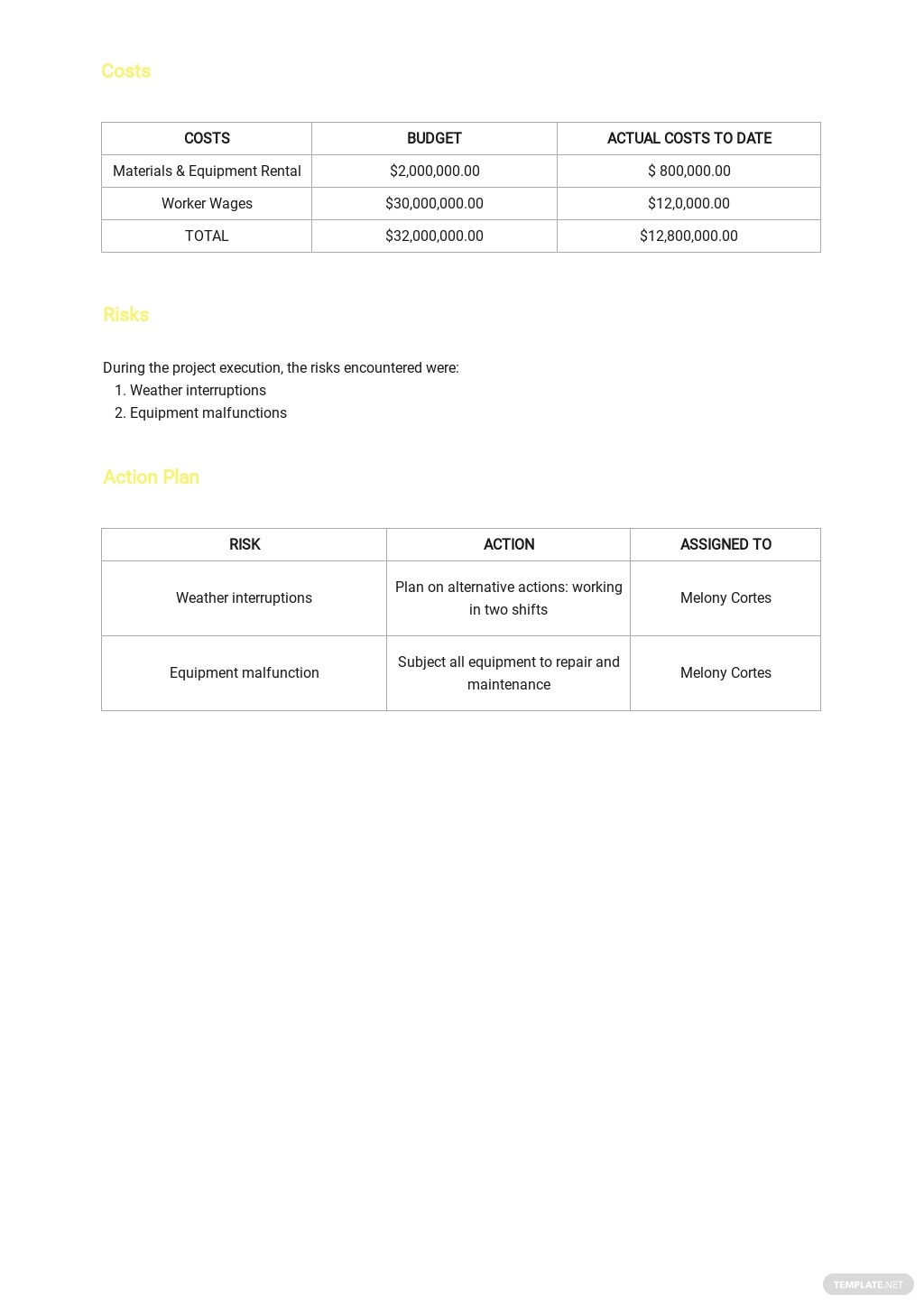 Weekly Project Management Status Report Template 2.jpe