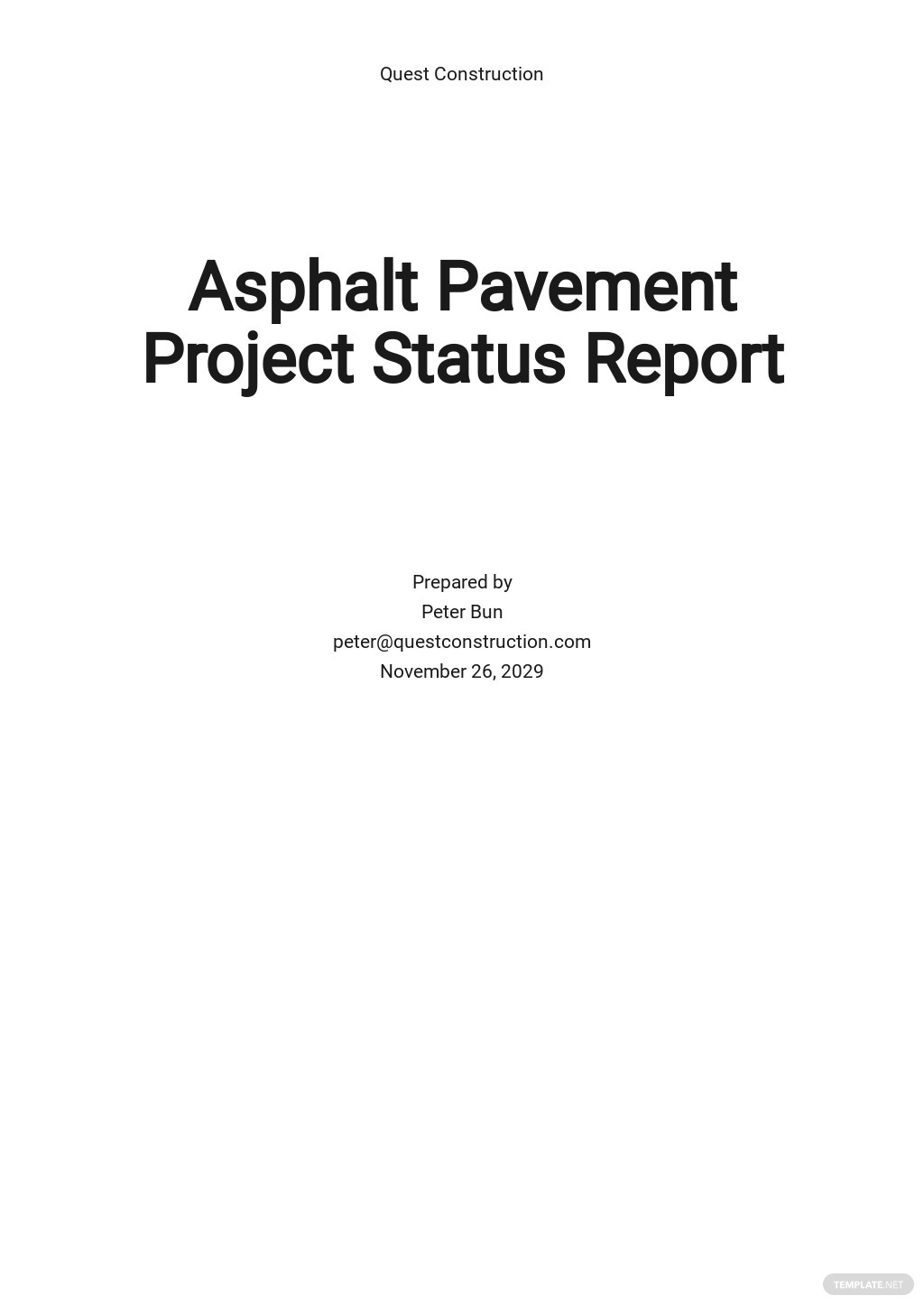 Weekly Project Management Status Report Template