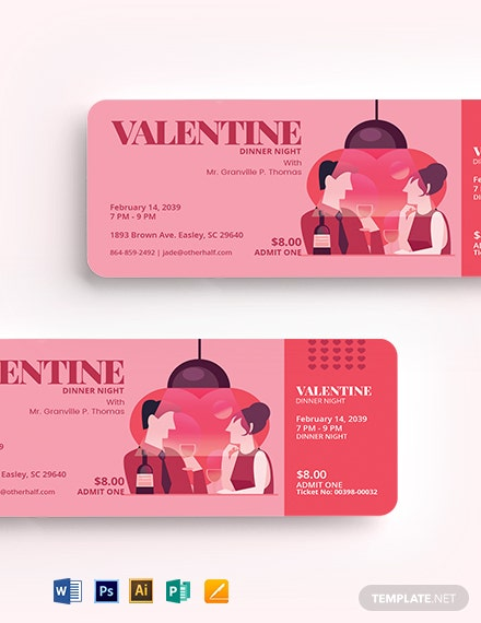 Valentine Dinner Ticket Template