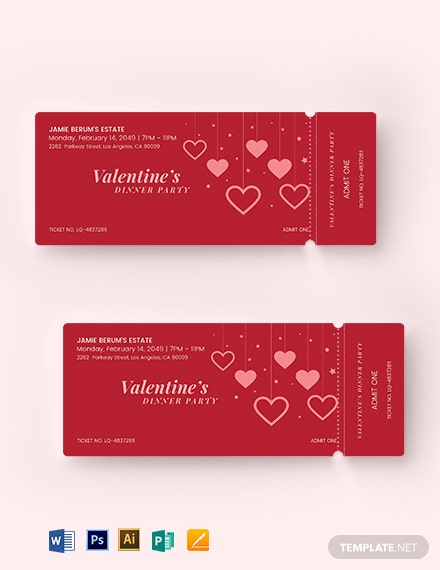 download valentines party event ticket template