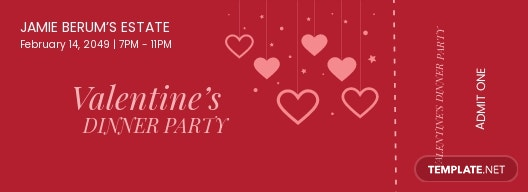 Valentines Party Event Ticket Template