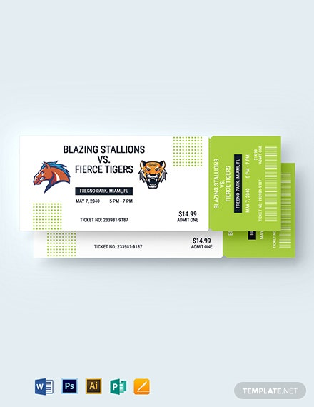 Baseball Event Ticket Template