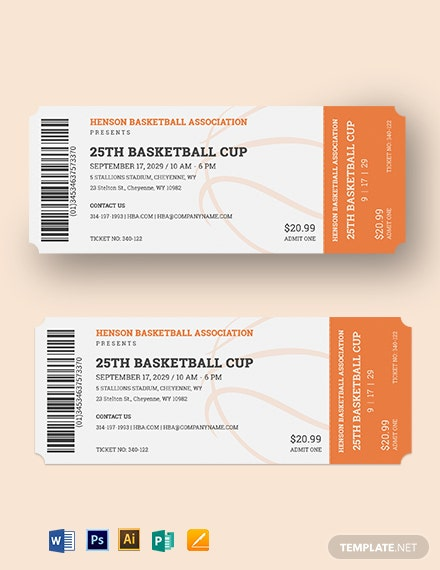 Basketball Ticket Template