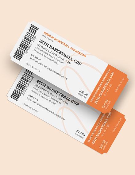 Sample Basketball Ticket