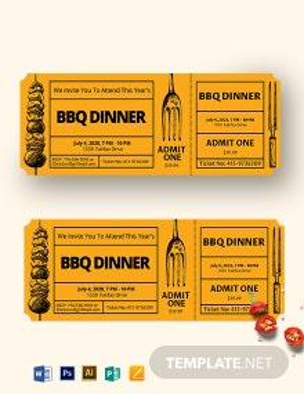 BBQ Dinner Ticket Template