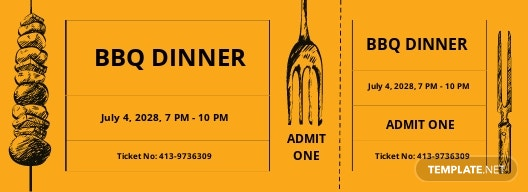 BBQ Dinner Ticket Template
