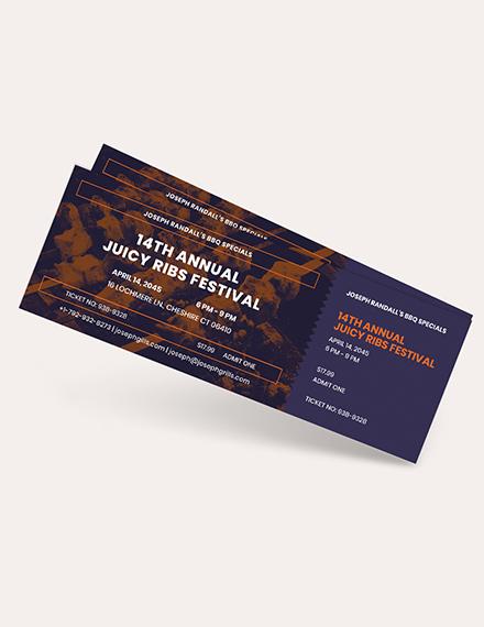 BBQ Event Food Ticket Download