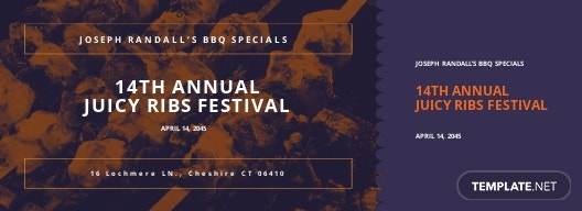 BBQ Event Food Ticket Template