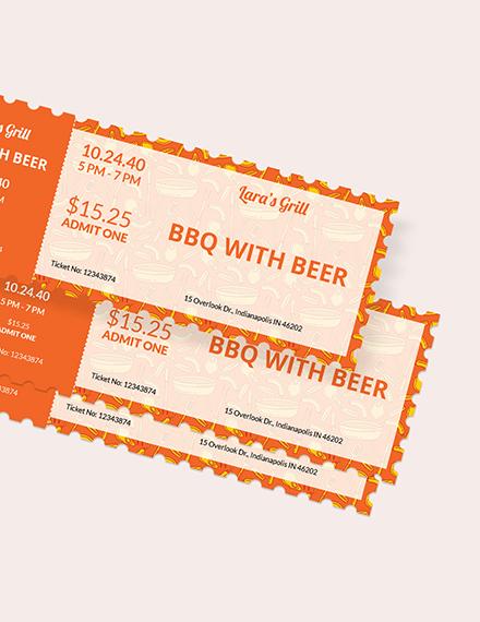 Sample BBQ Food Ticket