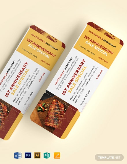 Bbq Sale Ticket Template
