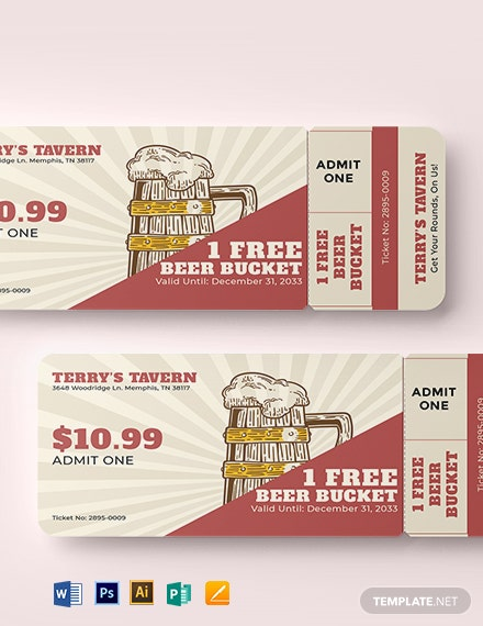 Beer Fest Drink Ticket Template: Download 0+ Tickets in Adobe