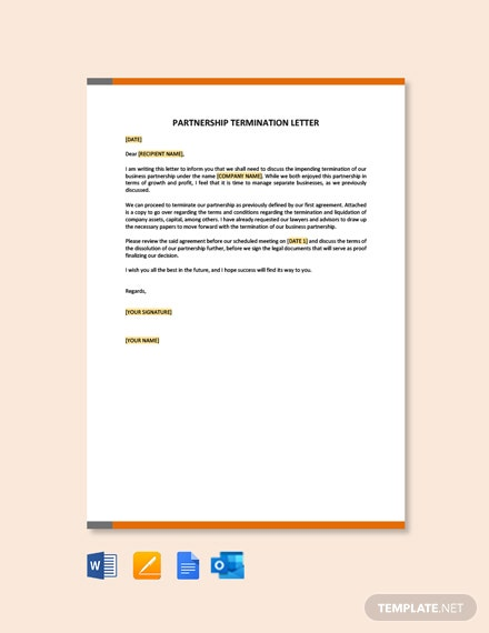 Free Partnership Termination Letter Template