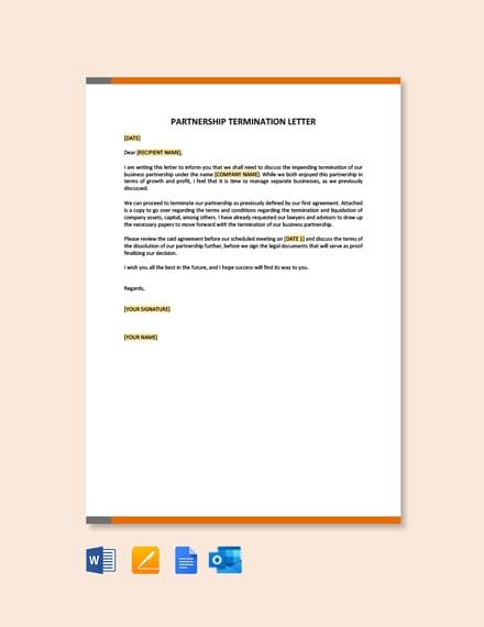 Free Partnership Termination Letter Template