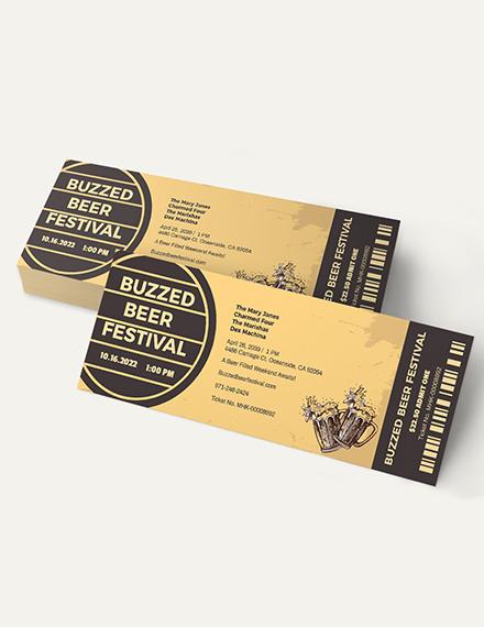 Sample Beer Festival Ticket