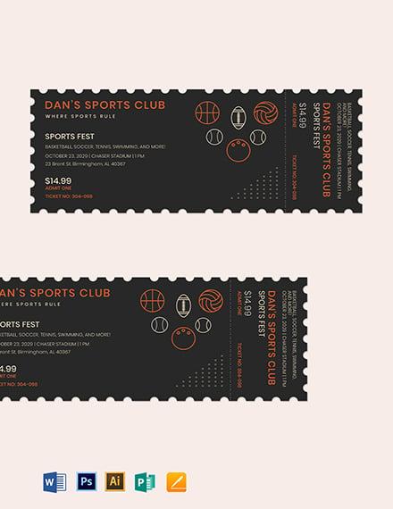 Blank Sports Ticket Template