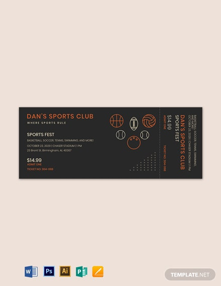 Blank Sports Ticket Template