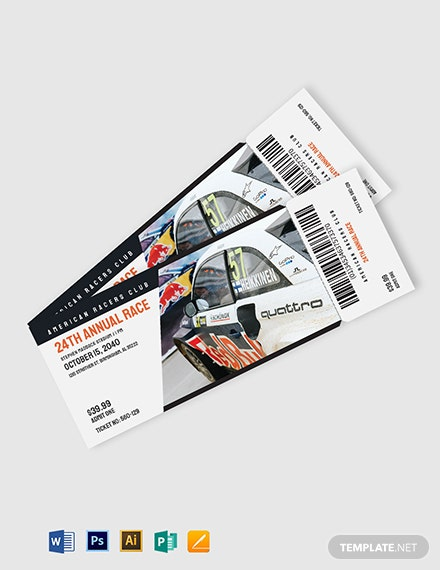 Car Racing ticket template