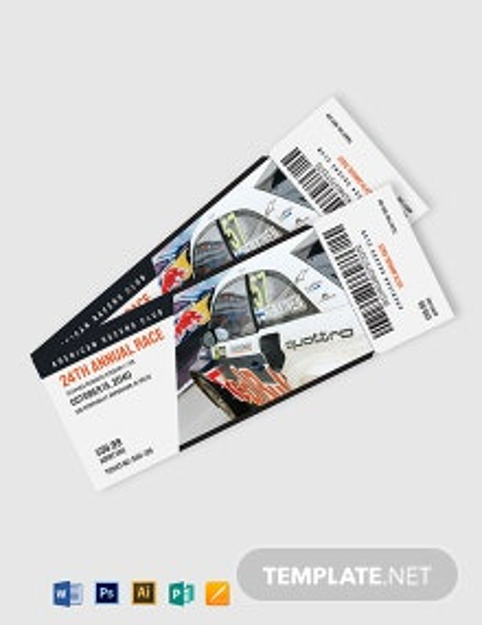 Car Racing Ticket Template