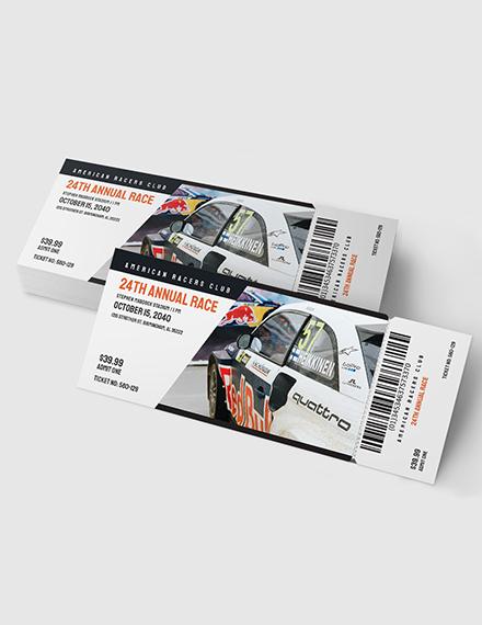 Sample Car Racing Ticket